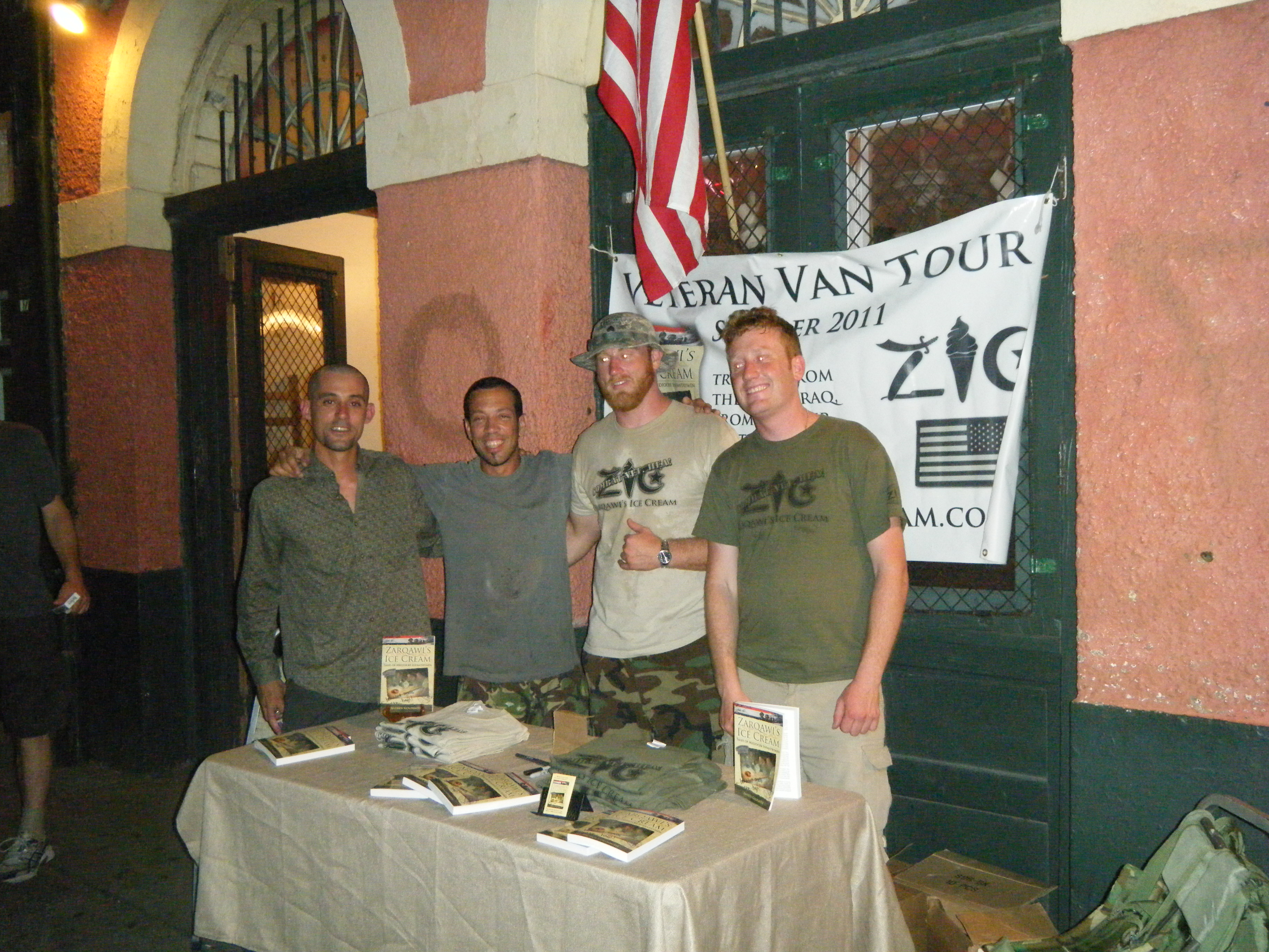 Brian (far left) and Daniel, a former Army medic and artist, in New Orleans on Decatur Street.
