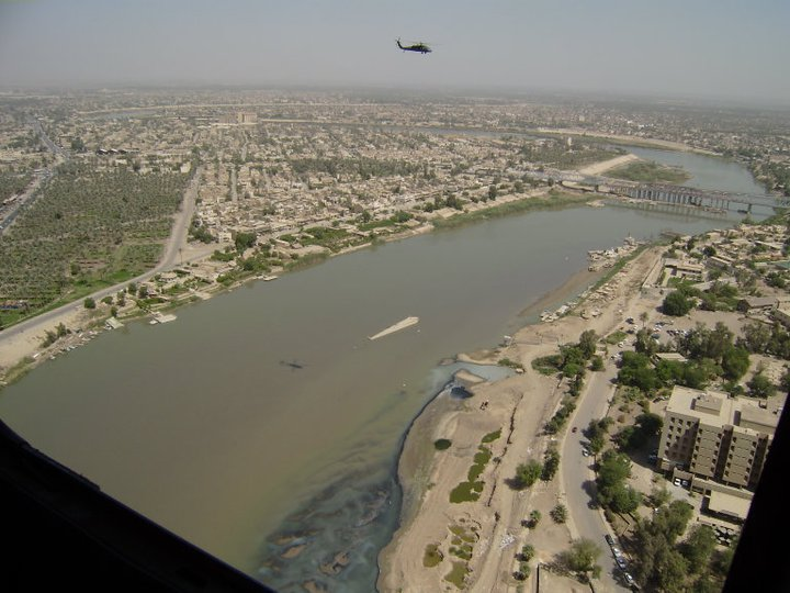 A view of the Tigris River from the seat of a Blackhawk helicopter.