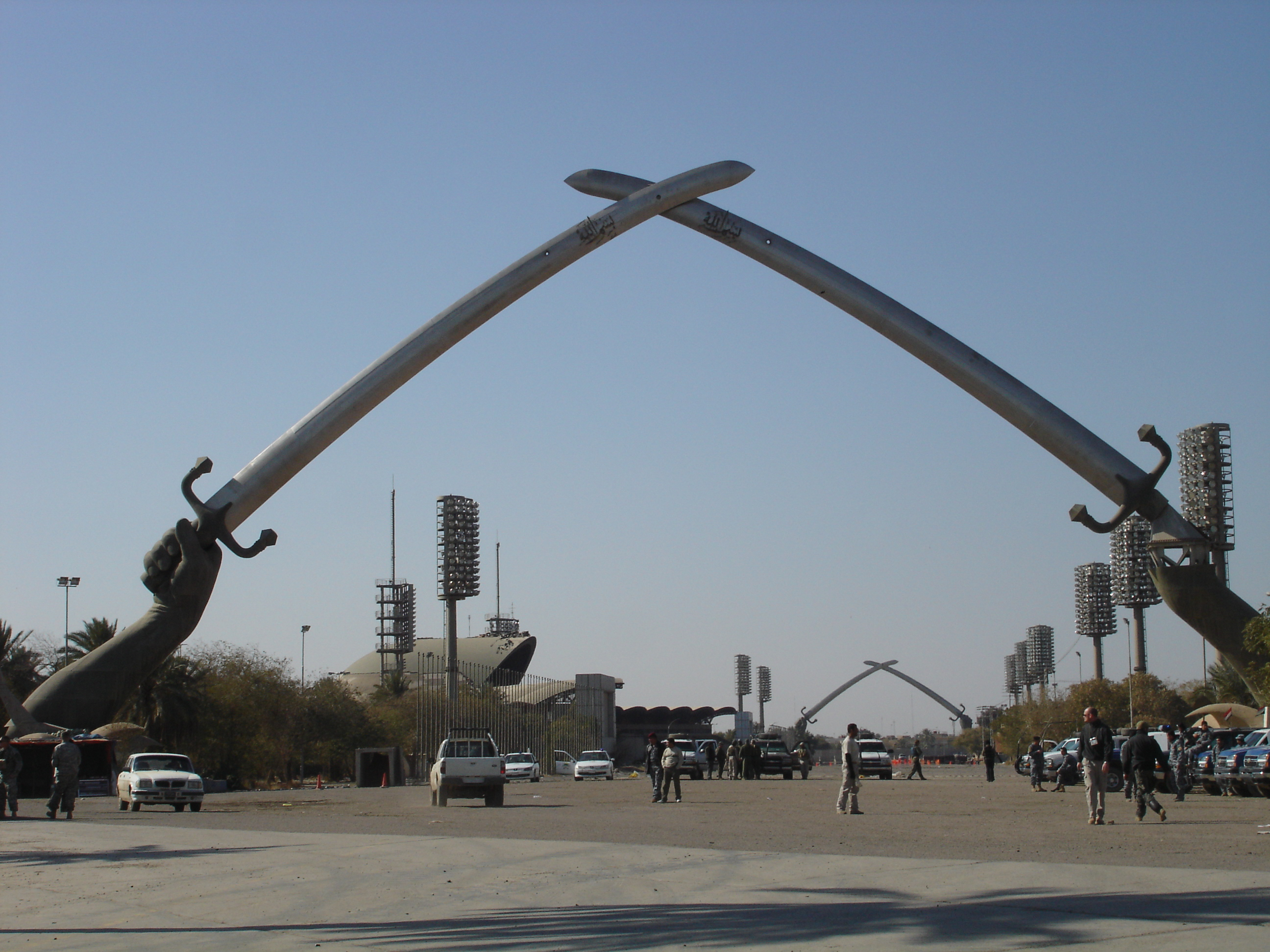 """To commemorate his """"victory"""" over Iran in the Iran-Iraq War, Saddam erected the twin crossed-sabers in Baghdad. They reside in the International Zone and are perhaps Iraq's most recognized monument."""